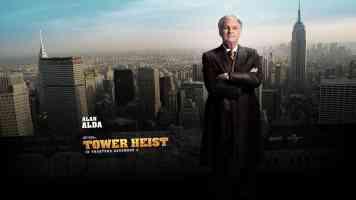 alan alda tower heist action movie poster