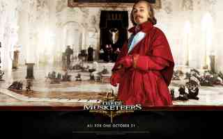christopher waltz as cardinal richeleu in three musketeers action movie poster