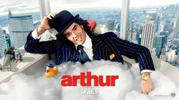 russell brand in arthur comedy movie poster